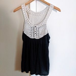 Black And Cream Crochet Tank Top
